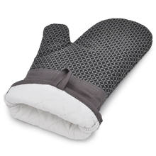 Wholesale high quality kitchen accessories black food grade rubber cotton cooking oven glove