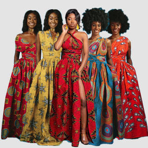 Hot Sale Women Casual Short Sleeve African Dashiki Printed Summer Long Maxi Dresses Clothes Manufacturer Wholes