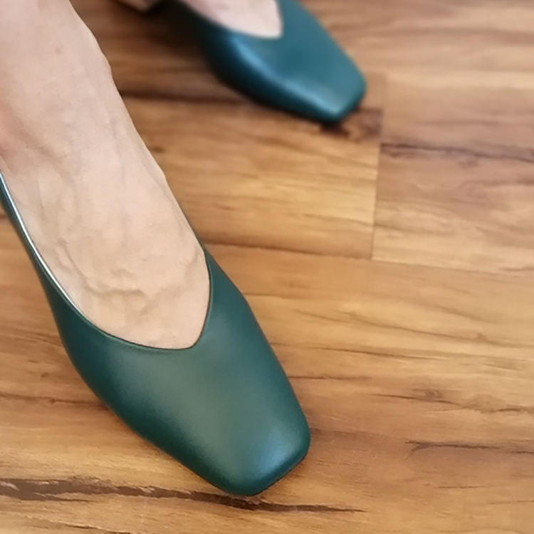 2019 Factory Direct classic green genuine leather high heel shoes private label