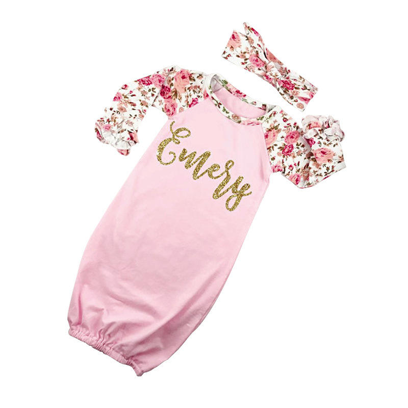 Newborn Infant Toddler Floral Icing Triple Ruffle Floral Girls Sleeping Bag Romper Take Home Romper Cotton Baby Gown
