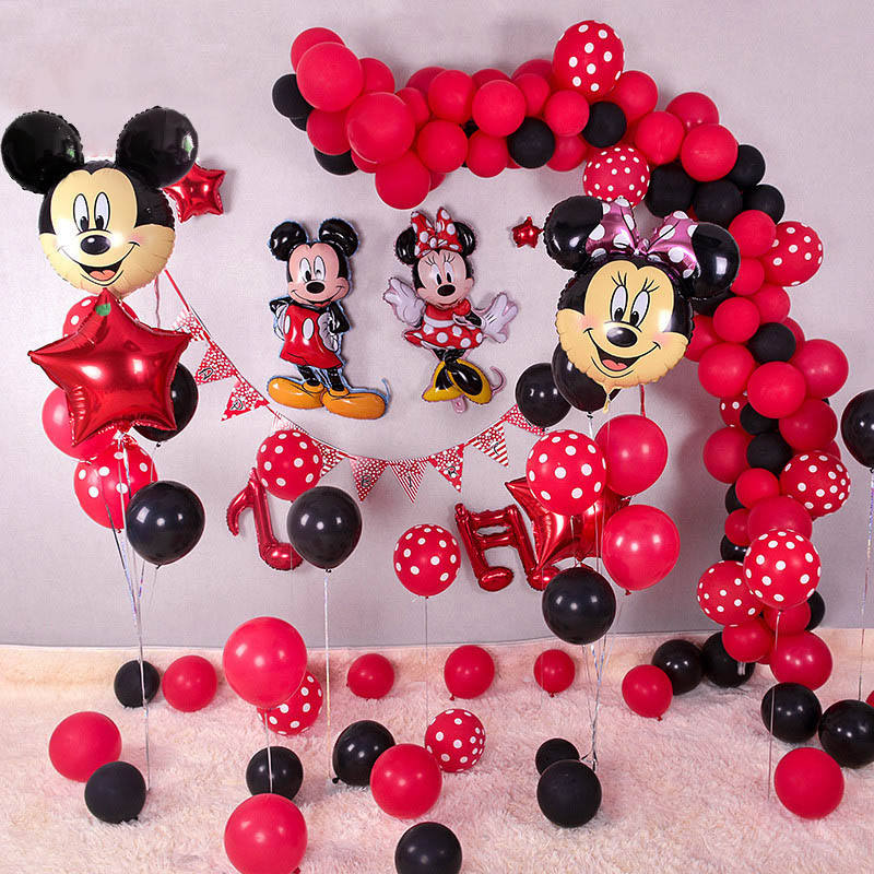 Minnie Mickey Mouse head Foil Balloons Red Black Latex Balloon Kids Birthday Party Decoration Supplies Minnie Mickey Globos