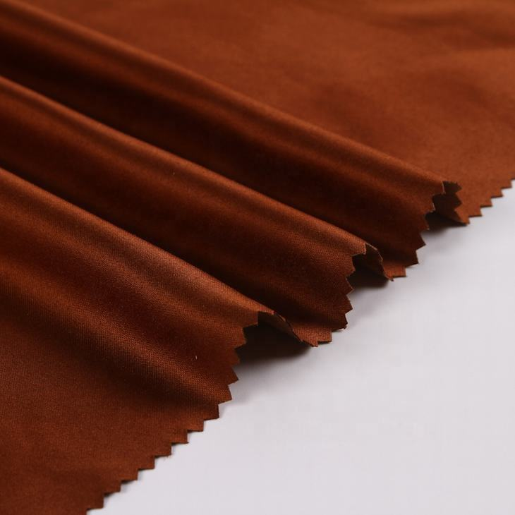 In stock luxury brown suede 100% satin shiny polyester woven fabric for garment