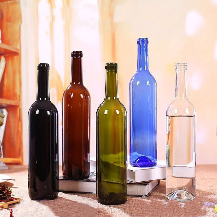 Wholesale amber/blue/green empty dark frost premium wine glass bottles 750 ml for liquors