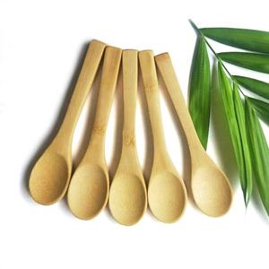Eco-Friendly Reusable Small Solid Bamboo Wood Spice Salt Sugar Mini Bamboo Ice Cream Spoon