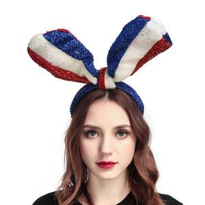 New women flag long ears Hair Accessories Bow knot Stripe Flag Hair Hoop headband for Grand festival Party