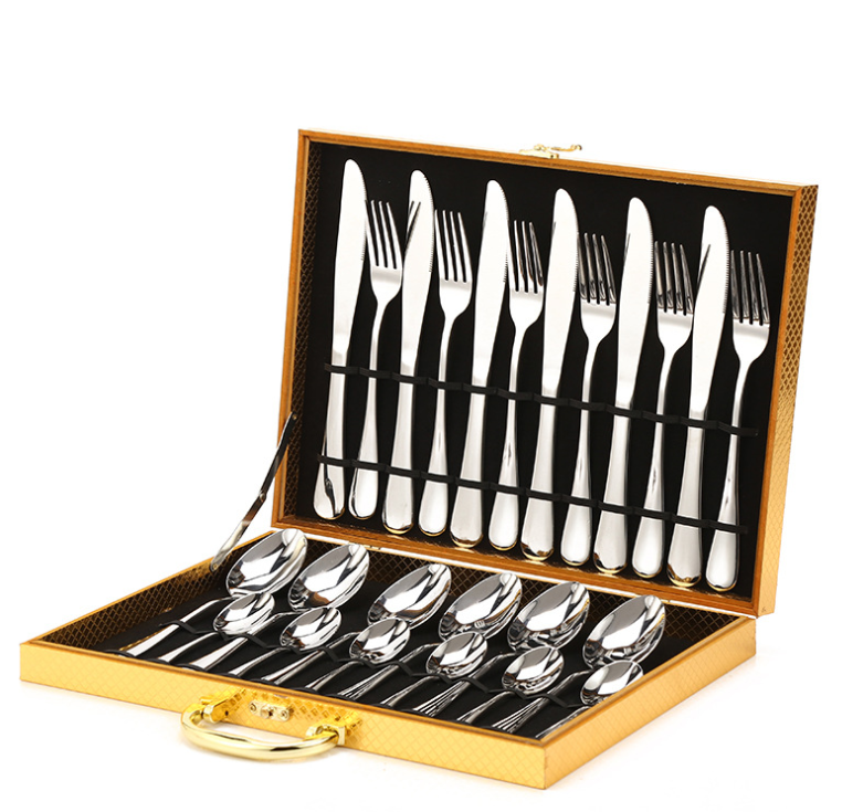 Royal Stainless Steel Cutlery Sets 24 Piece Gold SIlver Flatware Silverware Set with Wooden Box