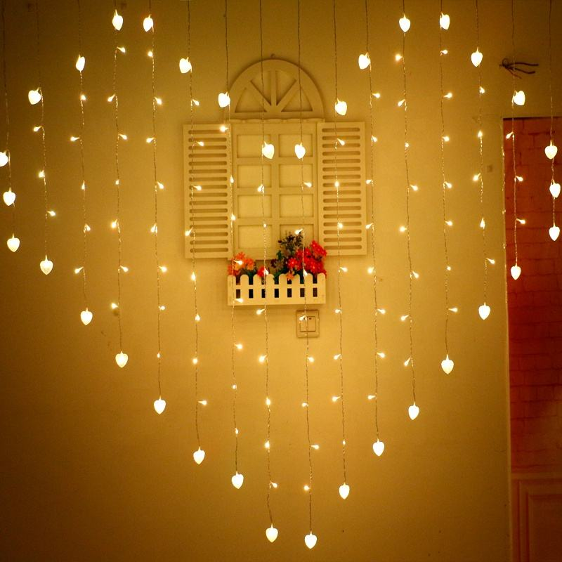 hot sale Wedding Decoration Home Decoration Accessories heart shape wedding occasion led curtain light
