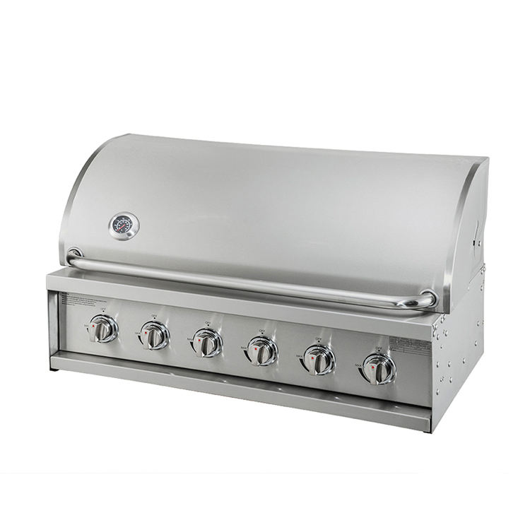 Best selling adjustable height indoor cooking machines bbq smoker 6 burners stainless steel gas built-in gas bbq grills