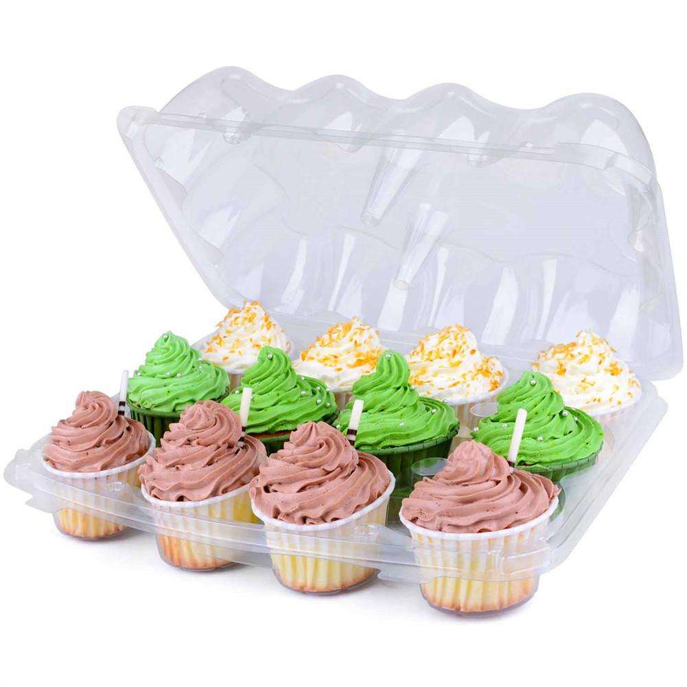 12 Grid Disposable Cake Containers 8pcs/set Plastic Cupcake Trays Kitchen Pastry Decoration Tools For Birthday Party Supplies