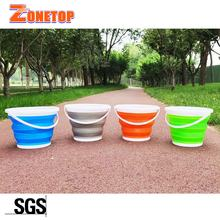 Free Samples 3L 5L 10L Portable Retractable Outdoor Water Storage Plastic Bucket Folding Foldable Collapsible Silicone Bucket