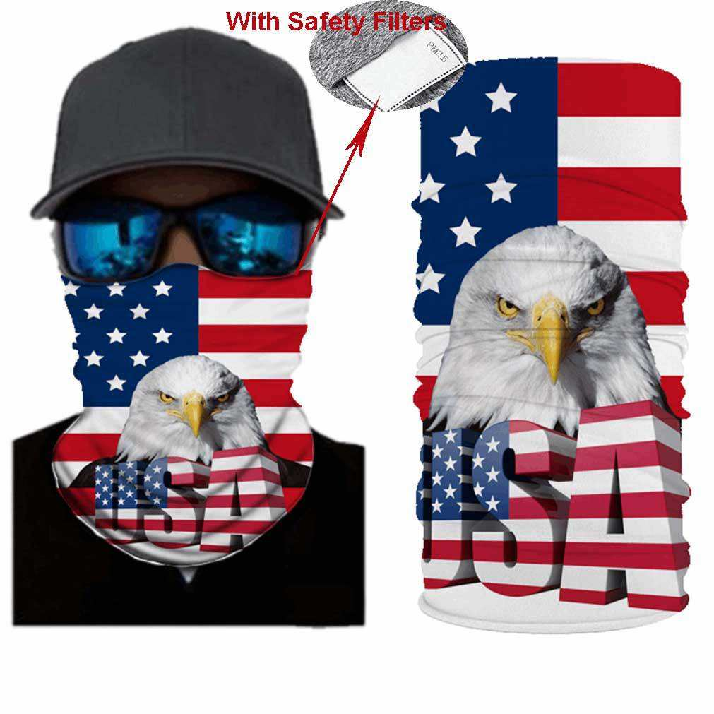 Balaclava North American Bald Eagle On The American Flag Full Face Masks UV Protection Ski Hat Womens Headcover for Cycling