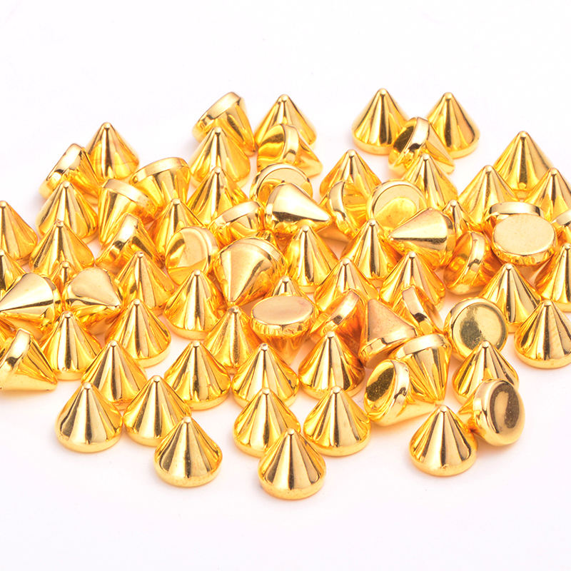 JUNAO 8mm Gold Studs Spikes Decorations Rivets Plastic Punk Rivet For Leather Clothes Bag DIY Crafts Jewelry Making