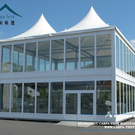 outdoor glass two storey tent marquee , double deck glass tent