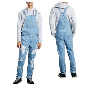 Compre Monos De Jeans Rasgados Para Hombres De Moda High Street Distressed Denim Bib Overol Para Hombre Pantalones De Tirantes Tamaño S XXXL Colores A