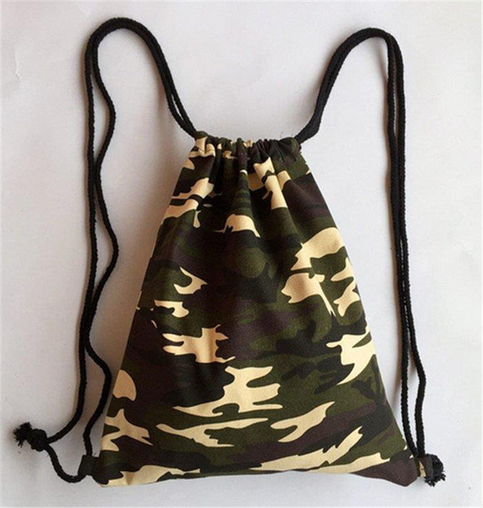 Rfid [ Bag ] Custom Design Camouflage Army Canvas Drawstring Backpack Bag