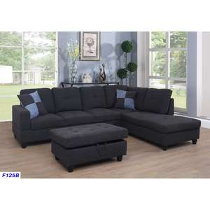 3-Pieces Sectional Sofa Set with Ottoman and 2 Square Pillows, Left or Right Facing Chaises, Linen Fabric, Multiple colors avail