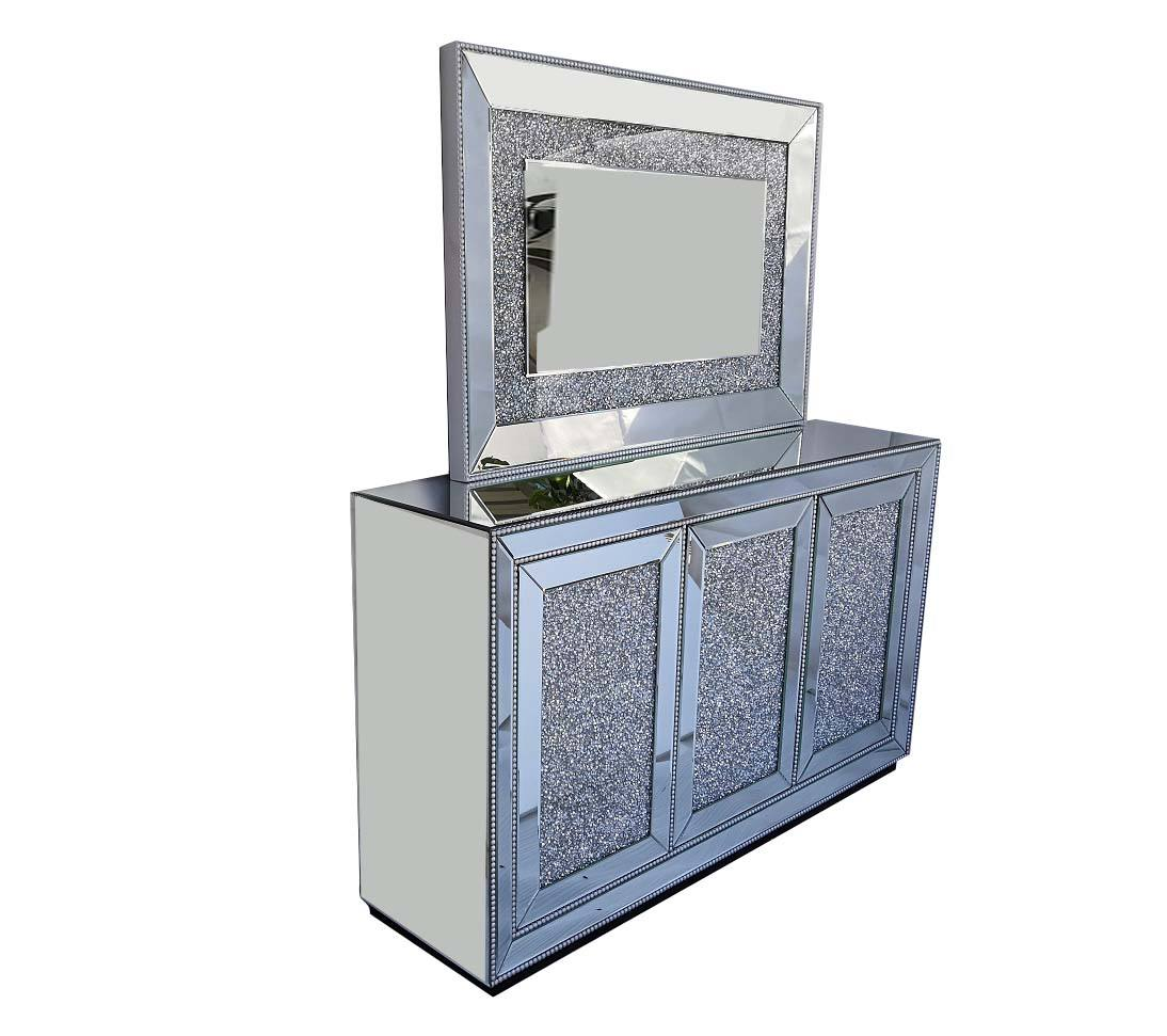 Sparkle Silver Mirrored Cabinet Crushed Diamond Insert Beads Trimming Buffet for Home Hotel