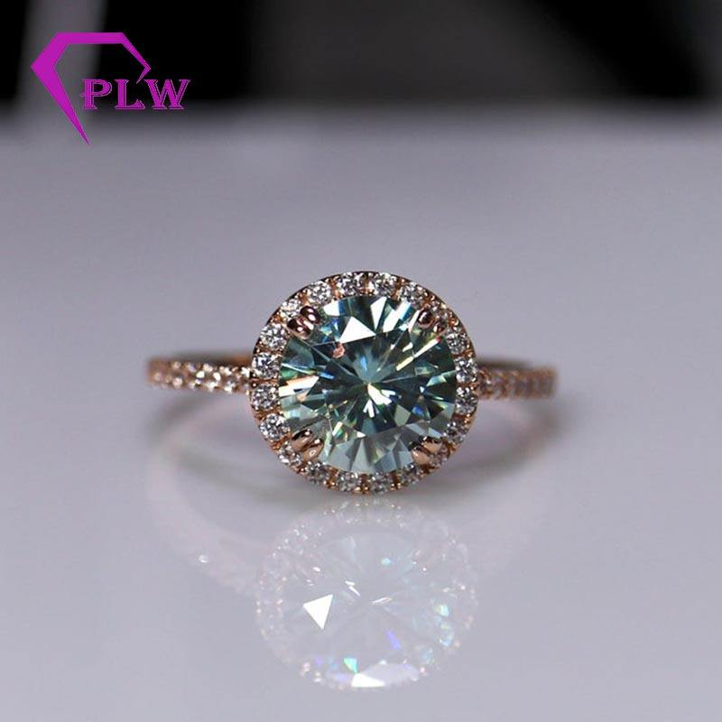 2020 new arrival jewelry design blue green color 7.5mm brilliant cut moissanite engagement ring with colorless diamond accent