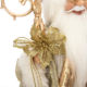 40cm standing golden santa claus figurine holding sceptre and gift bag with bear and pine cone christmas decoration holiday