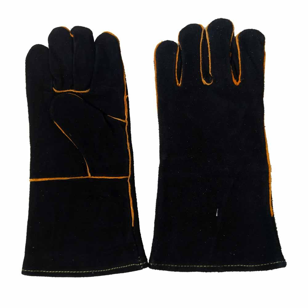 Cow Split Leather Welding heat resistance fire line protection long working gloves