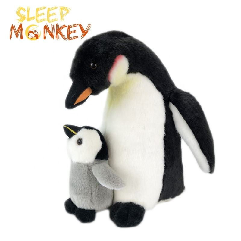 Customize Dismountable Penguin Mother & Child Sea Animal Plush Toy Lifelike Super Soft Plush Toy Penguin Vivid Stuffed Animal