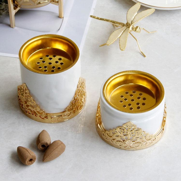 Luxury Gold Metal Marble Ceramic Combination Aroma Burner Incense For Scented