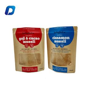 Food grade eco friendly kraft paper food packaging bags stand up pouch biodegradable ziplock bags with window