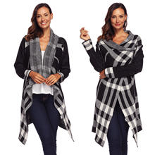 Fashion Womens Ladies Open Front Winter Autumn Checked Knitted Wool Long Cardigan Sweaters