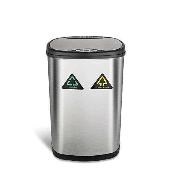 50L household touchless trash bin stainless steel Induction recycle waste bin