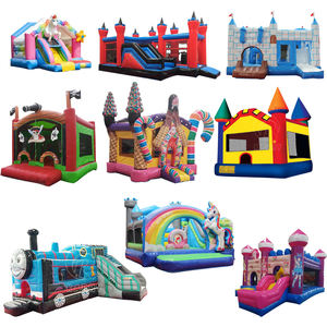Cartoon theme Colorful inflatable bouncing castle commercial air jumping bouncer house castle for kids