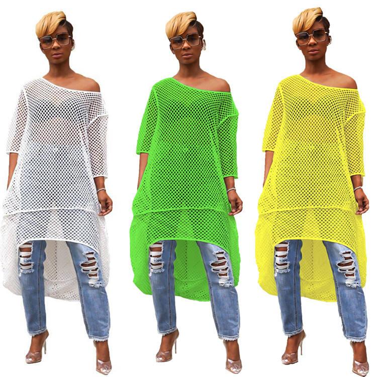 SACX102 Fashion Summer Beach Wear Mesh Hollow Bikini Blouse Crochet Knitted Dress