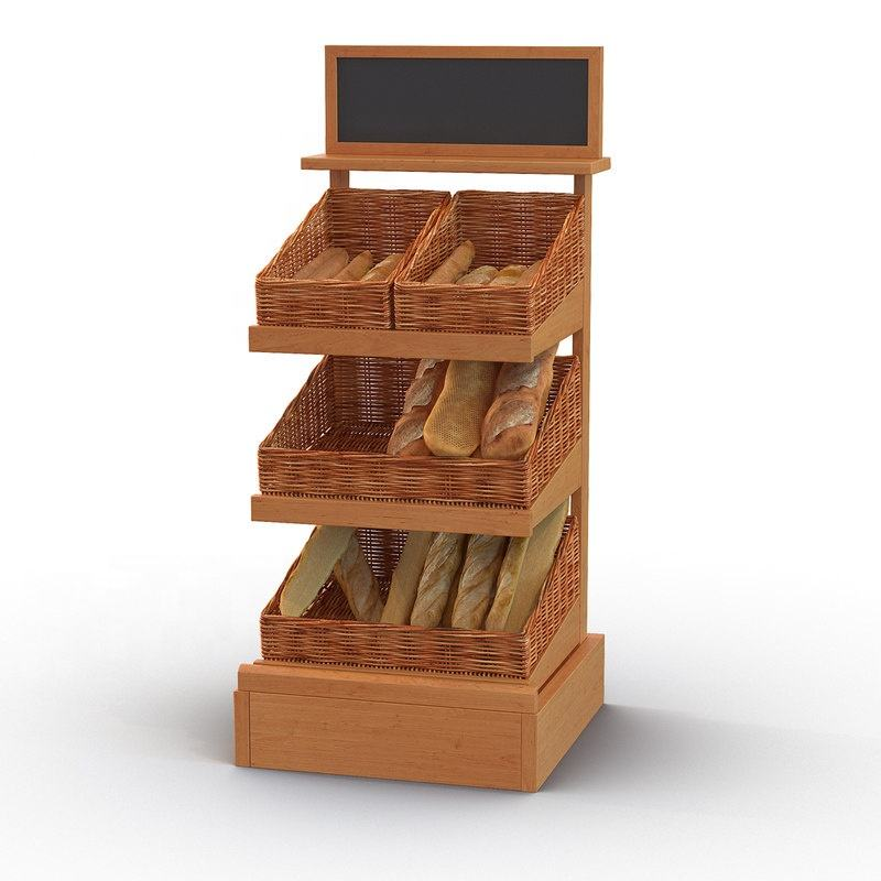 Manufacturer 3 Tier Counter top Bakery Display Case Bread Display