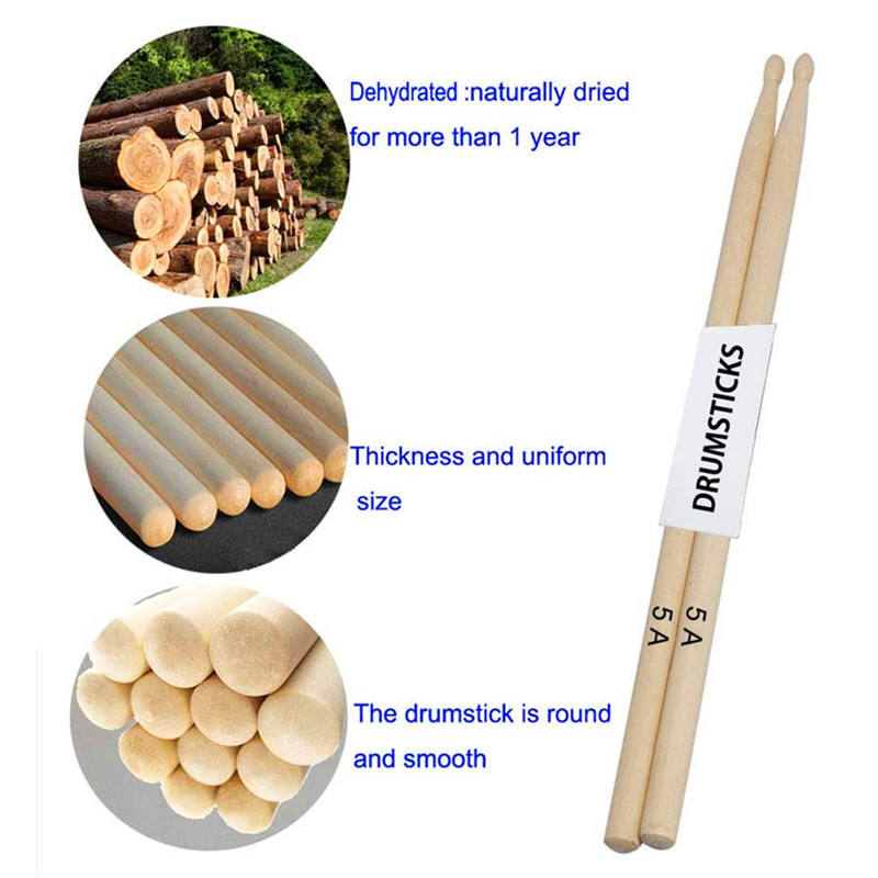 Best seller Musical instruments 5A 5B 7A drum sticks customized drumstick wood tip drumsticks