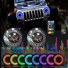 Newest design 3d halo ring 7 inch round headlights with chasing color  headlamp for Jeep Wrangler