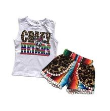 new arrivals Baby girls children clothes CRAZY HEIFER kidswear outfits leopard serape pom-pom shorts cotton ruffle boutique