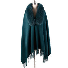 Super soft high quality winter embroidered woolen cashmere shawl women tassel fox fur shawl