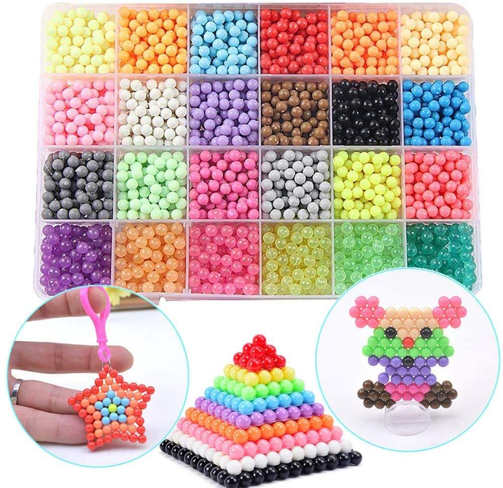 Educational Toy Colorful Water Spray Fuse Beads Kits Case for Kids Working with Aqua Perler Sticky Beads