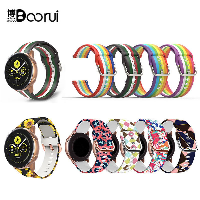 BOORUI OEM colorful printing smart watch band strap for galaxy watch samsung straps 42mm