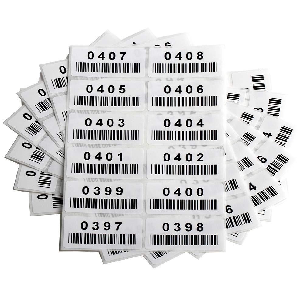 "ST04 Pre-Printed Consecutively Numbered Labels Sticker with Bar Code 2"" x 1"" DFDISPLAY"