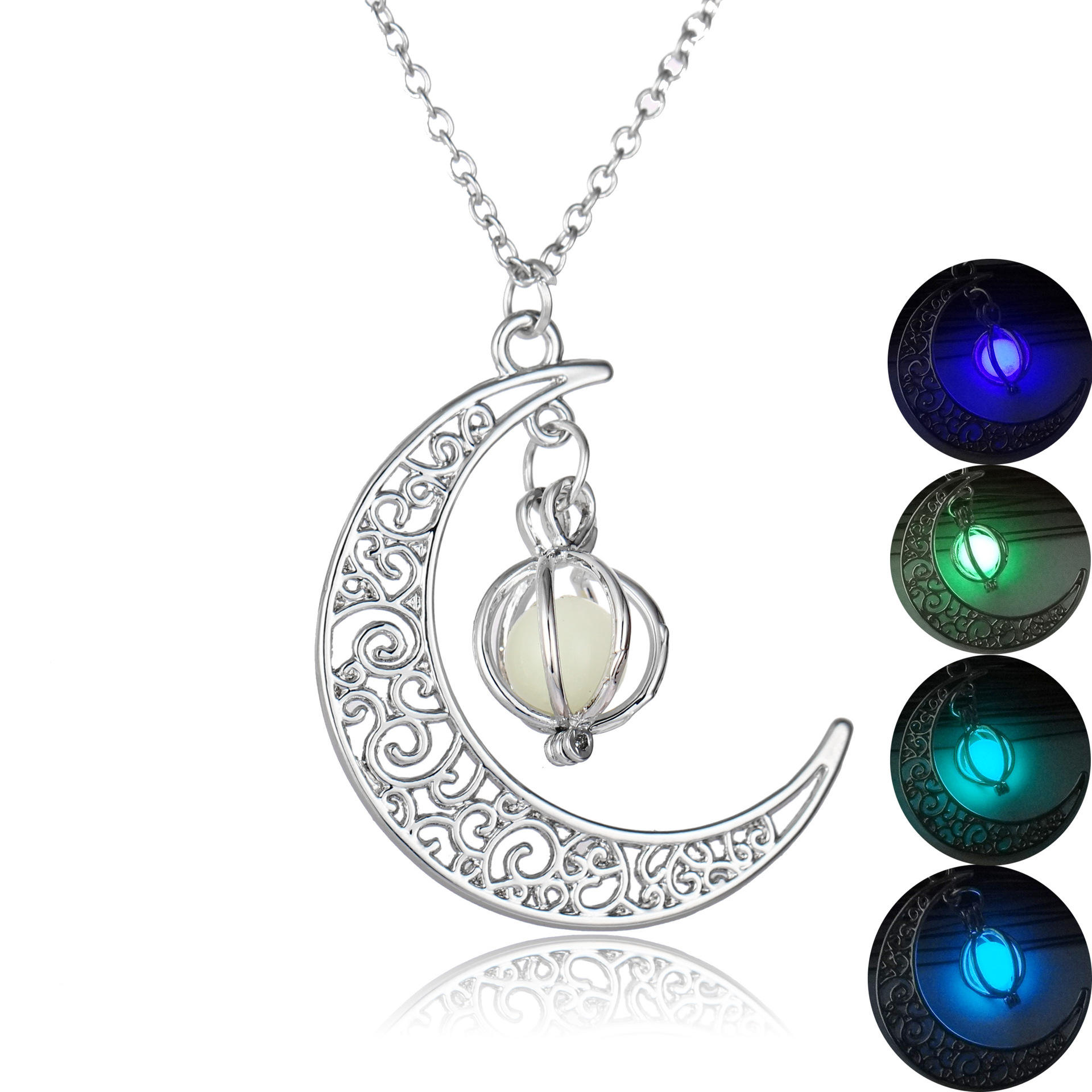 Creative Glowing Moon Pumpkin Pendant Luminous Glow in the Dark Light Necklace as Christmas Halloween Gifts