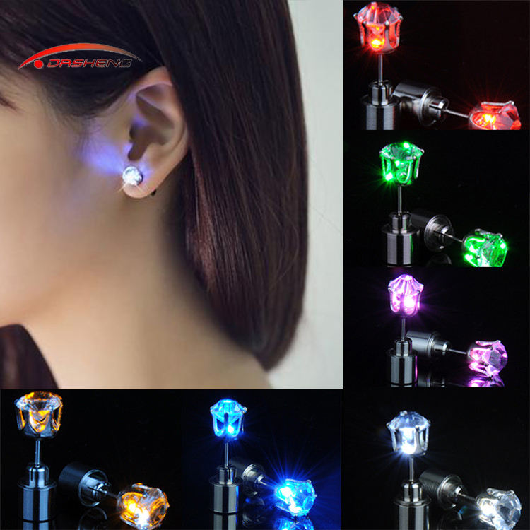 Free Sample Wholesale Christmas Party Fashion Women Stud Magnetic Batteries Flashing Light Up El Glow Neon Led Earrings