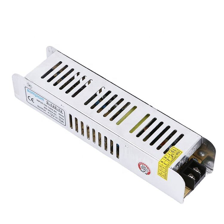 Ultra slim smps 110/220V ac to dc 12V 10a 120W single output led strip power supply