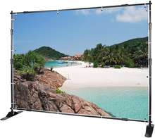 8' Telescopic Display Backdrop Stand Photo Booth/  Trade Show Step and Repeat banner/Wall Exhibitor Background