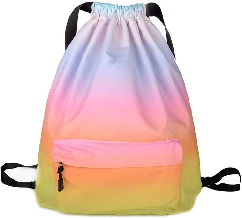 Nylon custom satin sports backpack sack pack gym bag drawstring bag