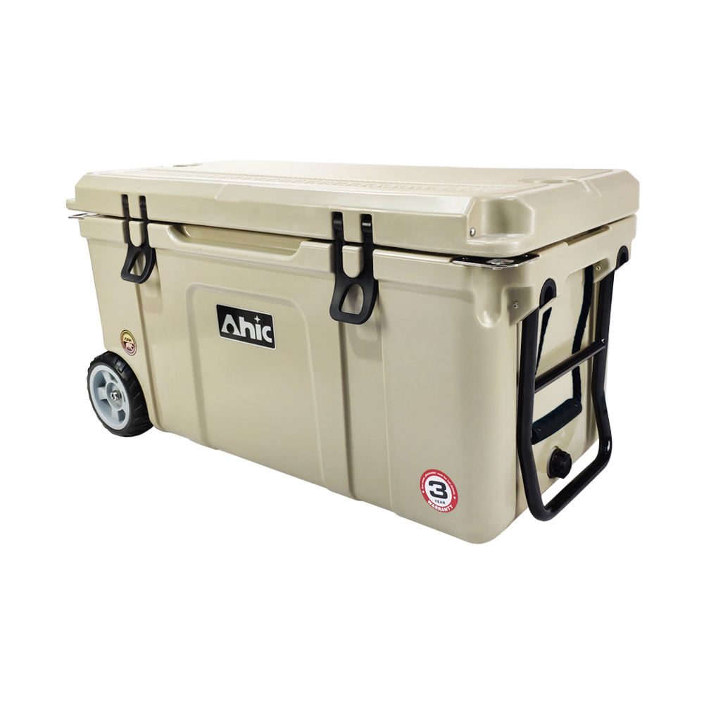 75 QT Portable Plastic Hard Rotomolded Ice Box Ice Chest Cooler with Wheels Durable White Cooler Box
