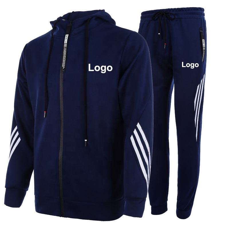 Wholesale Two Piece Set Polyester Fitness Sports Gym Sweatsuit Men Custom Logo Plain Tracksuits For Men