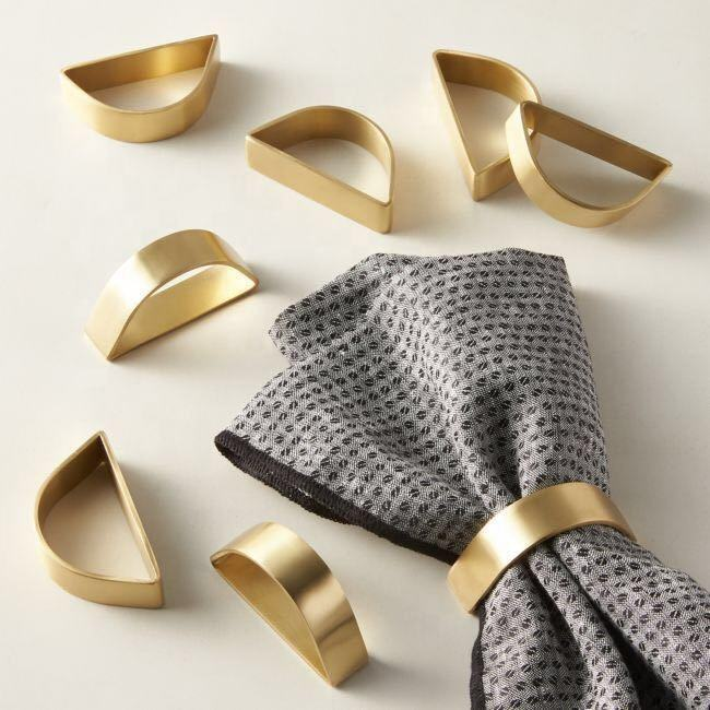 Cuff brushed Gold Napkin Ring set of 8 for THANKSGIVING