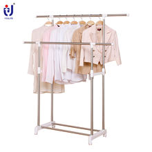 Youlite Cmetal Stand Double Pole Stainless Steel Clothes Drying Laundry Garment Hanger Clothesline Racks