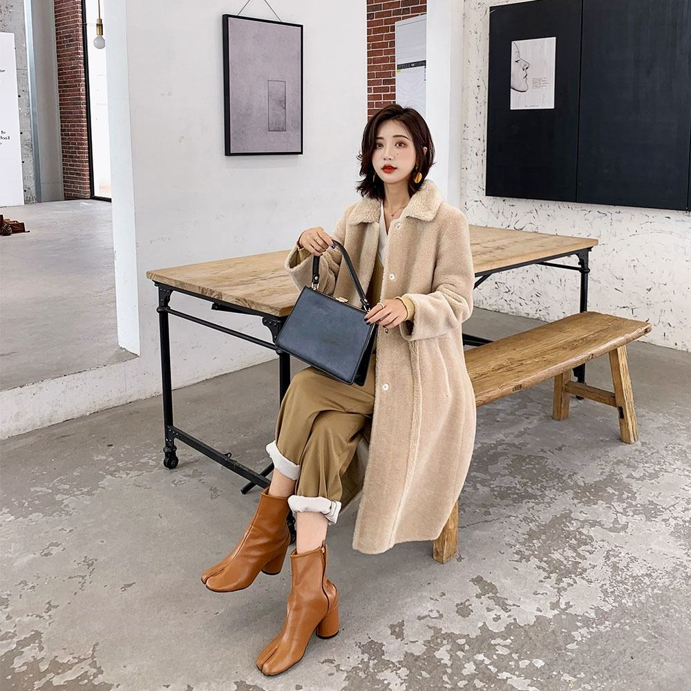 super september promotion Wholesale High Quality Wool Coat Sheepskin Shearing Wool Women Winter Warm Coat Lamb Fur Coat