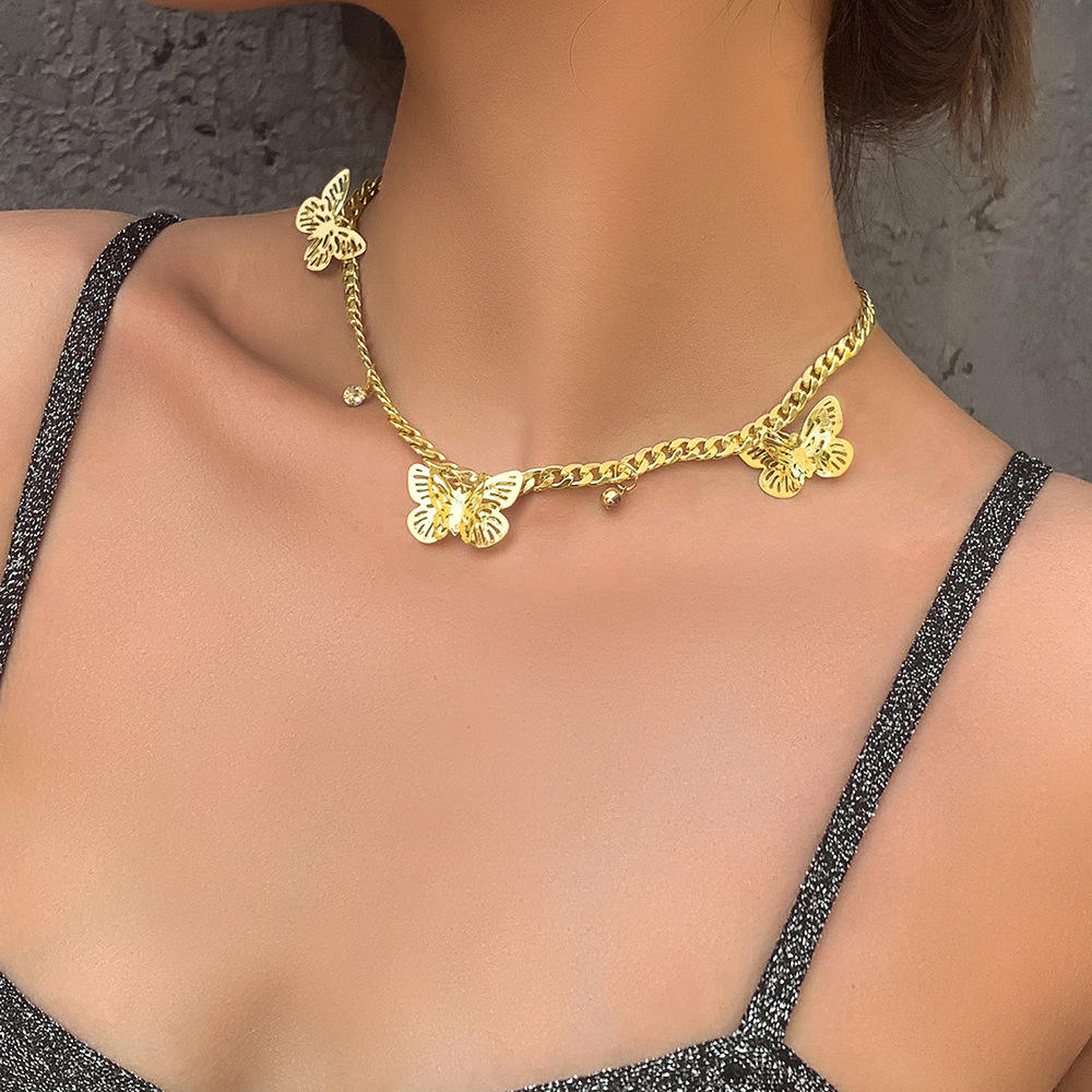 Popular Colorful Butterfly Pendant Necklace for Women Fashion Female Chocker Necklace 2021 New Jewelry Accessories Wholesale